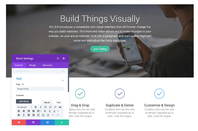 Divi Visual Editor Screenshot